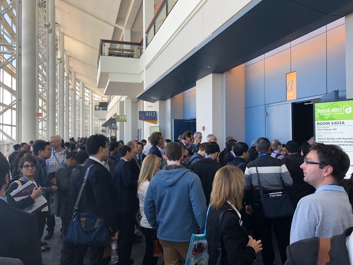 @judywawira tweeted a photo of  a standing room only session at the RSNA Annual Meeting on Nov. 26, 2017.