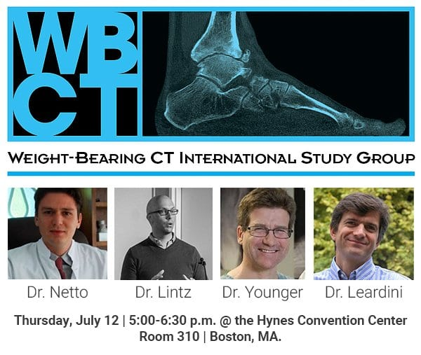 This year CurveBeam will be co-sponsoring the Weight-Bearing CT International Study Group Thursday, July 12, 5:00-6:30 PM at the Hynes Convention Center, Room 310, in Boston, MA.